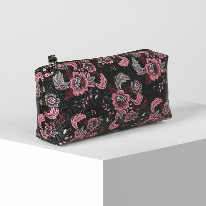 Косметичка простая, отдел на молнии, цвет чёрный/розовый