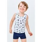 Комплект для мальчика из майки и трусов-боксеров, рост 122-128 см, цвет белый, тёмно-синий - Фото 1