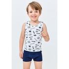 Комплект для мальчика из майки и трусов-боксеров, рост 122-128 см, цвет белый, тёмно-синий - Фото 4