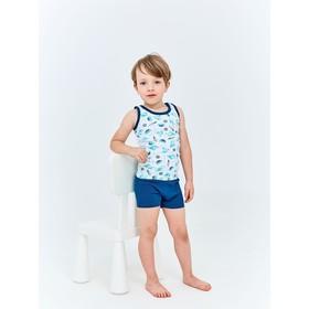 Комплект для мальчика из майки и трусов-боксеров, рост 122-128 см, цвет белый, зеленый