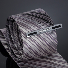 Зажим для галстука 'Джентельмен' прямоугольник вставка из страз, цвет чёрно-белый в серебре Ош