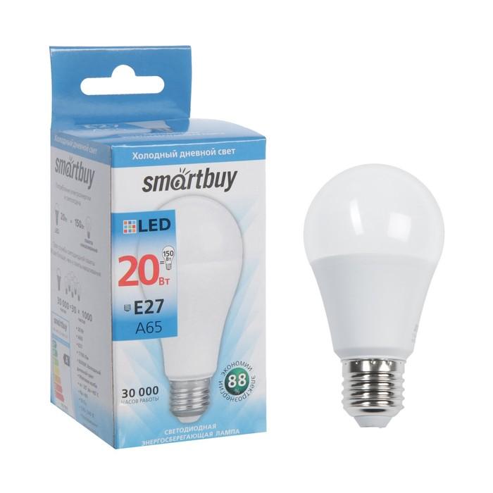 Лампа cветодиодная Smartbuy, A65, E27, 20 Вт, 6000 К, холодный белый свет