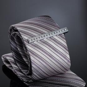 Зажим для галстука 'Джентельмен' прямоугольник в стразах, цвет белый в серебре Ош