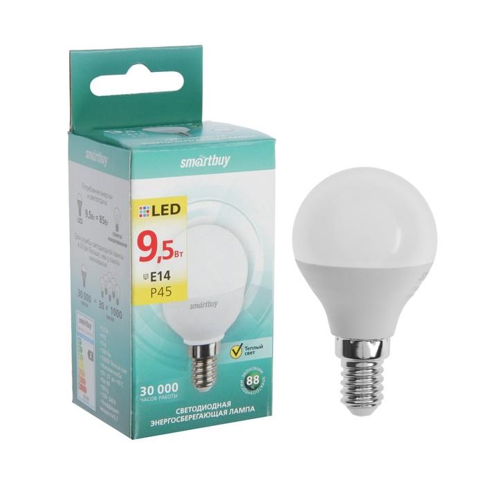 Лампа cветодиодная Smartbuy, Р45, E14, 9.5 Вт, 3000 К, теплый белый свет