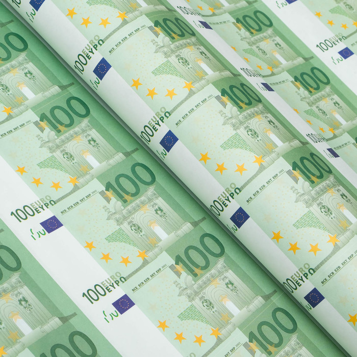 Бумага упаковочная 100 Евро, 50 х 70 см