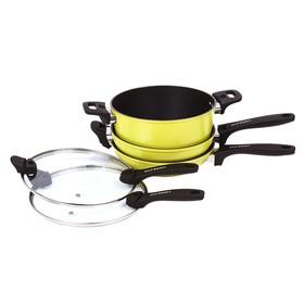 Набор посуды: сковорода 24 см, вок 24 см, кастрюля 4 л, крышка 24 см, 5 предметов