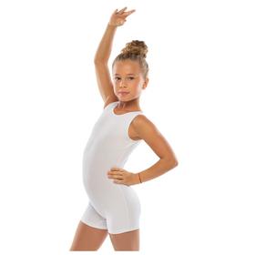 Комбинезон гимнастический укороченный х/б без рукавов, цвет белый, размер 28