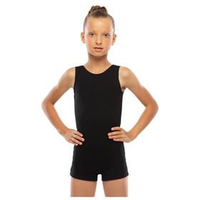 Комбинезон гимнастический укороченный х/б без рукавов, цвет чёрный, размер 30