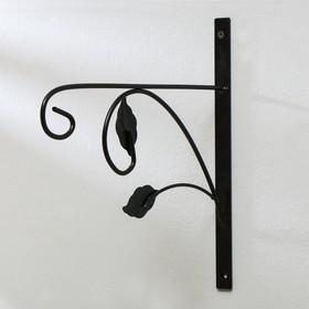 Кронштейн для кашпо, кованый, 30 см, металл, чёрный, «Листья» Ош