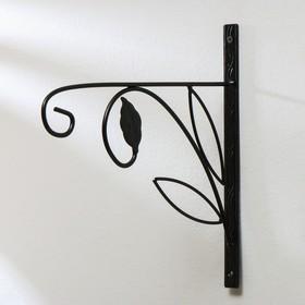 Кронштейн для кашпо, кованый, 30 см, металл, чёрный, «Цветок» Ош