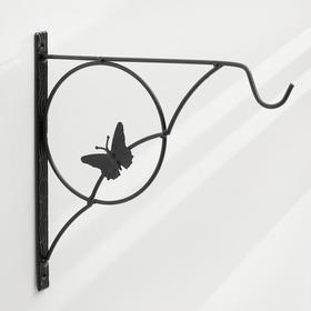 Кронштейн для кашпо, кованый, 30 см, металл, чёрный, «Бабочка» Ош