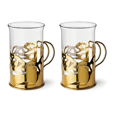 Набор стаканов в подстаканнике Apollo Genio Cite Gold, 250 мл, 2 шт