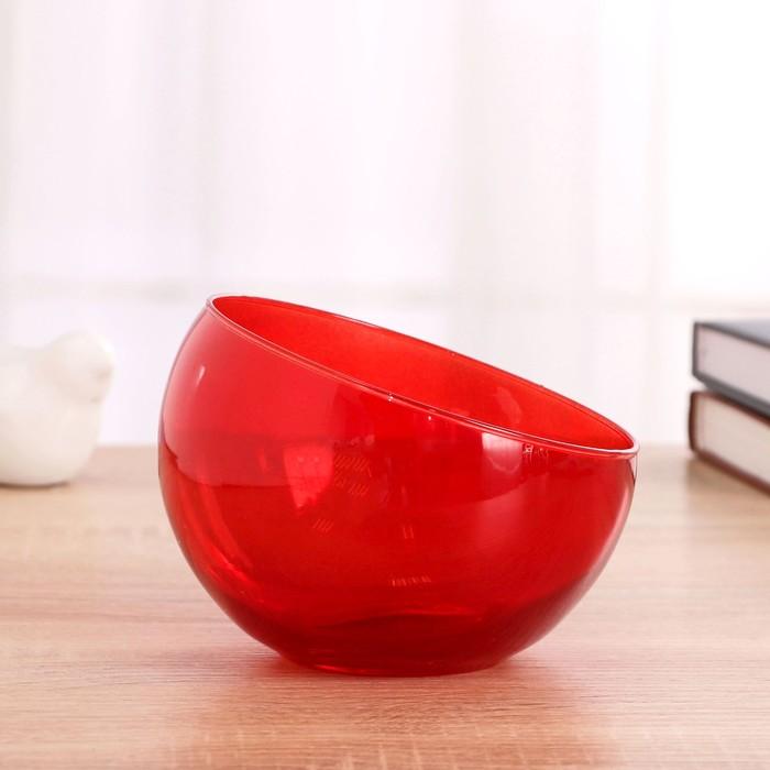 """Ваза """"Анабель"""" шаровая с косым резом красная d-12см, h-9.5см 1668"""