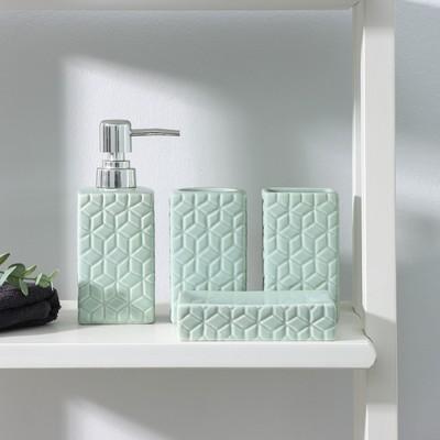 Набор аксессуаров для ванной комнаты Доляна «Звёзды», 4 предмета (дозатор 300 мл, мыльница, 2 стакана), цвет голубой