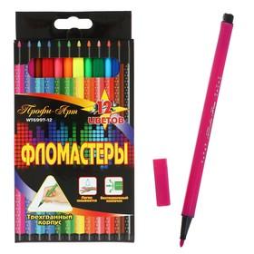 Фломастеры 12 цветов «Профи-Арт», трёхгранный корпус, вентилируемый колпачок