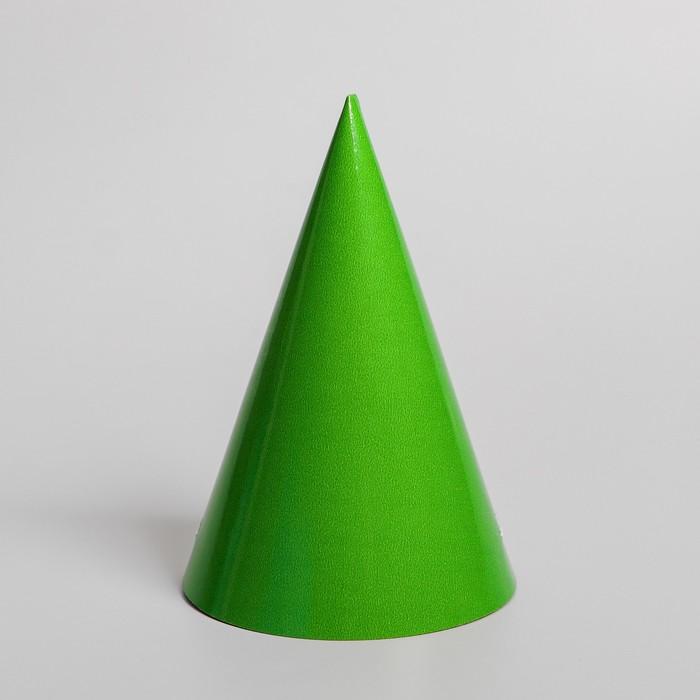 Колпак бумажный, однотонный, цвет зелёный