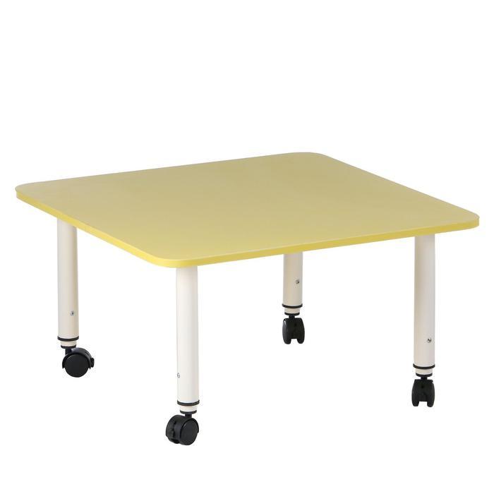 Стол детский регулируемый Подкатной, группа 0-3, 700х700, Желтый