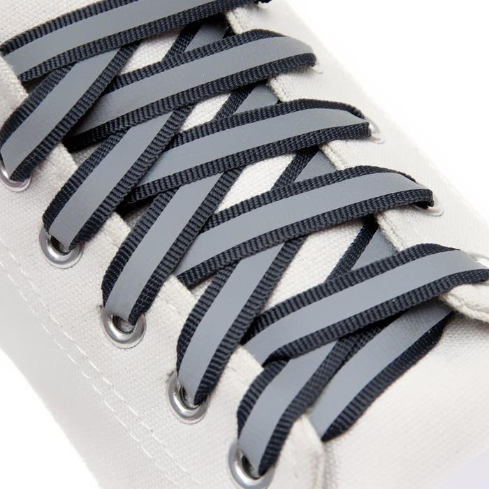 Шнурки для обуви, пара, плоские, со светоотражающей полосой, 10 мм, 120 см, цвет серый