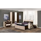 Спальня «Венеция 10», кровать 140 ? 200 см, шкаф 3х дверный, 2 тумбочки, комод, столик