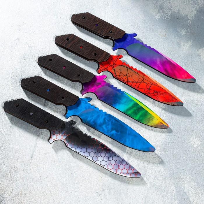 Сувенир деревянный нож 6 модификация, 5 расцветов в фасовке, МИКС
