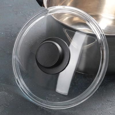 Крышка для сковороды и кастрюли стеклянная, d=20 см, с пластиковой ручкой - Фото 1