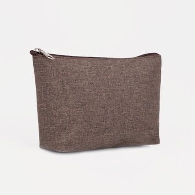 Косметичка простая, отдел на молнии, цвет коричневый - Фото 1