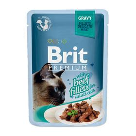 Влажный корм Brit Premium для кошек, кусочки из филе говядины в соусе 85 г