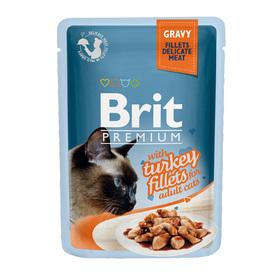 Влажный корм Brit Premium для кошек, кусочки из филе индейки в соусе, 85 г
