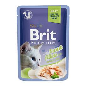 Влажный корм Brit Premium для кошек, кусочки из филе форели в желе, 85 г