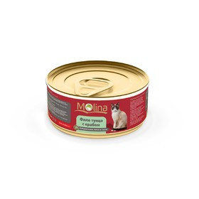 Влажный корм Molina для кошек, филе тунца с крабом в соусе, 80 г