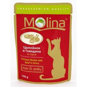 Влажный корм Molina для кошек, цыпленок и говядина в соусе, 100 г