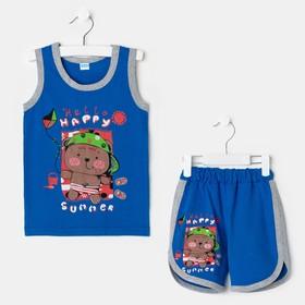 Комплект для мальчика (майка, шорты) Happy, цвет тёмно-синий, рост 80-86 см Ош
