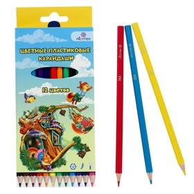 """Карандаши 12 цветов, Attomex """"Сказка"""", 2B, шестигранные пластиковые, d=2.65 мм, в картонной коробке"""