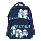 Рюкзак школьный Bruno Visconti, 40 х 30 х 16 см, эргономичная спинка, «Кеды-моя жизнь», синий