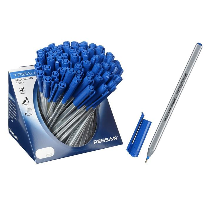 """Ручка шариковая масляная Pensan """"Triball"""", чернила синие, трехгранная, узел 1 мм, линия письма 0,5 мм, дисплей"""