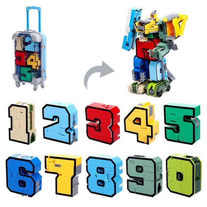 Игровой набор «Робо-цифры», трансформируется, в чемодане от 0 до 9, цвет голубой