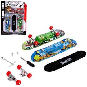 Набор пальчиковых скейтбордов «Скейтпарк», со сменной доской и аксессуарами, световой эффект, МИКС Ош