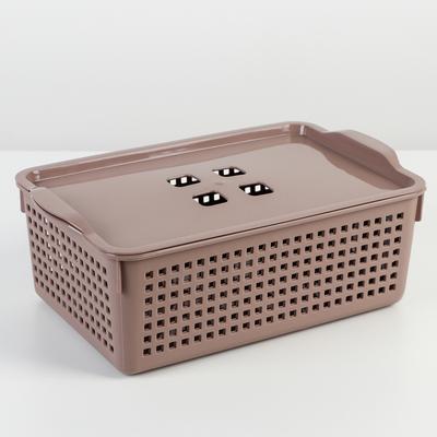 Корзина для хранения с крышкой «Лофт», 3,8 л, 29,5×18,5×10,5 см, цвет мокка