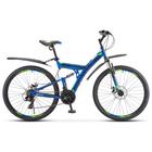 """Велосипед 27,5"""" Stels Focus MD, V010, цвет синий/неоновый-зеленый, размер 19"""""""