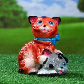 Садовая фигура 'Коты с бантом', серо-рыжая, 25 см Ош