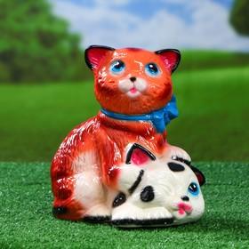 Садовая фигура 'Коты с бантом', бело-рыжая, 25 см Ош