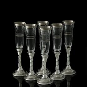 """УЦЕНКА Набор для шампанского """"Франчакорта"""", 6 бокалов 190 мл, 44 × 38 × 14 см"""