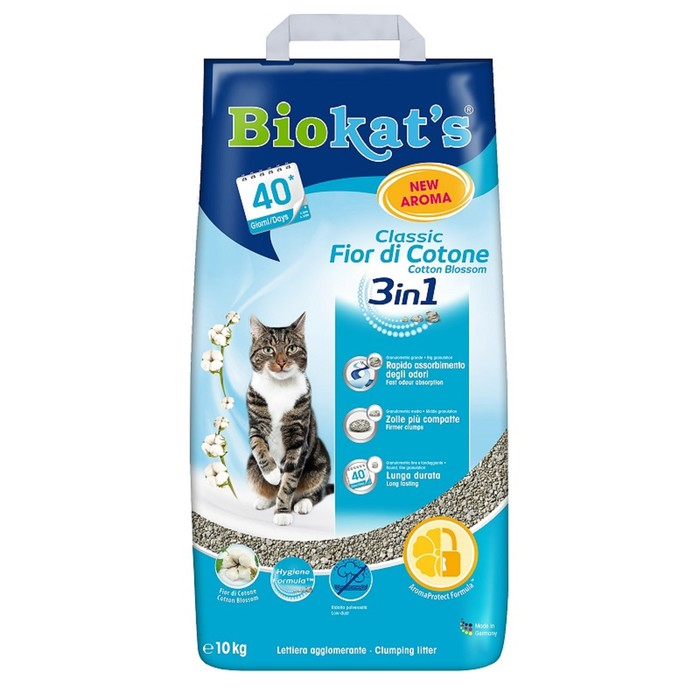 """Наполнитель Biokat`s """"Classic 3 in 1"""" для кошек, с ароматом хлопка, 10 кг"""