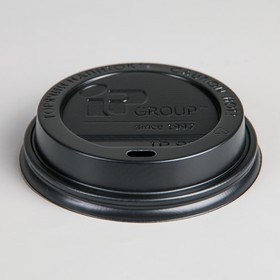 Крышка одноразовая на стакан, с отверстием, d=9 см, цвет чёрный, 25 шт/уп. Ош