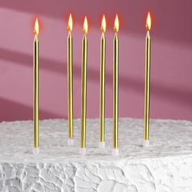 Свечи в торт 'С днём рождения' 6 шт, высокие, Золотой металлик Ош