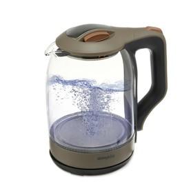 Чайник электрический Ampix AMP-1905, стекло, 1.8 л, 1500 Вт, подсветка, бежевый