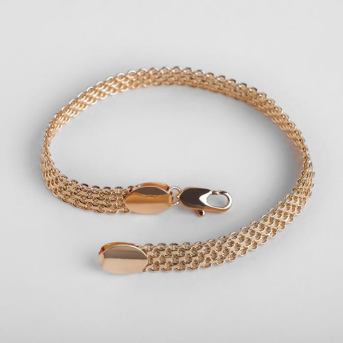 """Браслет металл """"Цепь"""" плетение черепашка, продолговатый карабин, цвет золото, ширина 7 мм, L=20 см"""