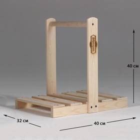 Дровница переноска деревянная, с высокой ручкой Ош