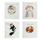 Тетрадь 48 листов Animals Between Lines в клетку, обложка - мелованный картон, выборочный УФ-лак, на гребне, 4В, МИКС