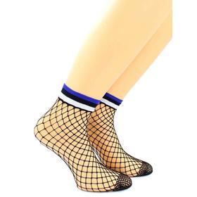 Носки женские нжкс48-11 средняя сеточка/манжет в синюю полоску цвет чёрный, р-р 23-25 (36-40